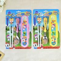 free shipping Pororo Edison Kid's Chopsticks & Spoon Set