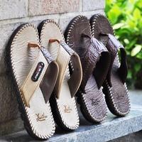 2014 Flip Flops Man Leather Summer Fashion Male Flip Flops Slippers Slip-Resistant Shoes Sandals PU Men's Size 44 43