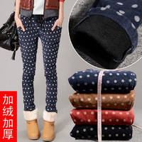 Autumn and winter plus velvet thickening pants polka dot casual trousers plus size harem pants