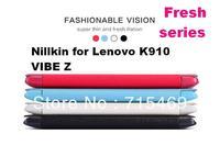 Free shipping 5pcs original Nillkin Flip leather case Fresh series for  Lenovo K910 VIBE Z +retail box