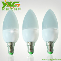 Free shipping new arrival wholesale 4pcs/lot e14 3w led candle lamp 220v  plastic material 85-265v