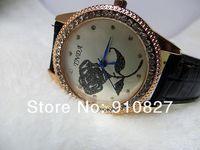 Casual Watch Women New Fashion Luxury Brand Rhinestone Quartz Wristwatches Leather Strap Watches 300pcs DHL free shipping
