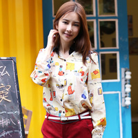 2013 autumn women's fashion lady print formal cotton long-sleeve shirt female top