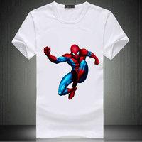 Free Shipping Movie Spiderman T Shirt For Men,Movie Stars Short Shirt,White Round Movie Star Shirt