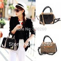 Womens Handbag PU Leather Leopard Print Paillette Sequin Shoulder Messenger Bag free shipping