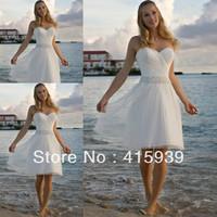 Bech Style Sweetheart Rhinestone Knee Length Short Wedding Dress Women Free Shipping HS216