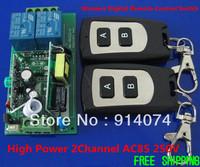 Free Shipping High Power AC110V 220V 10A 2Channel AC85 250V RF 433MHZ 315MHZ Wireless Digital Remote Control Switch System