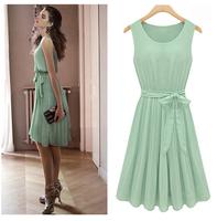 Green Women's Elegance Round Collar Sleeveless Pleated Vest Chiffon Dress free shipping