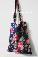 Free Shipping Vintage flower canvas bag shopping bag