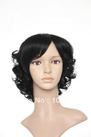 Lady's Fashion Wig,Synthetic Hair Wig,wigs,short cirly wig,light brown,black colour,beautiful wig