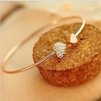 Sunshine jewelry store luxury gold color double hearts bracelet love crystal bracelet ( $10 free shipping )s050