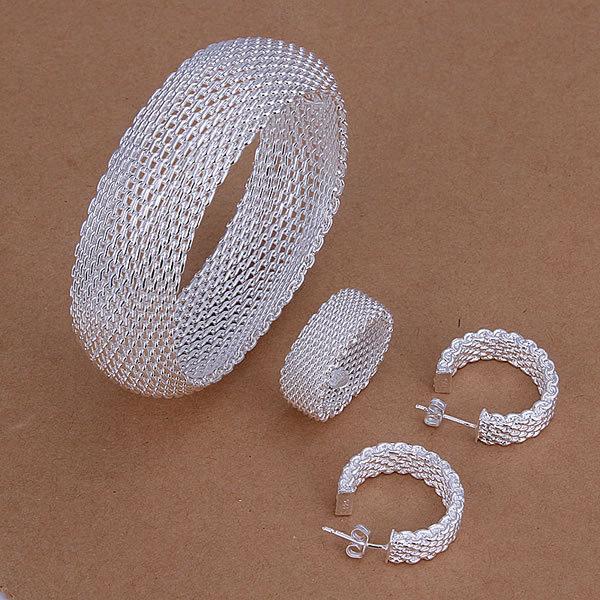 S301 Wholesale, free shipping 925 silver jewelry set, fashion jewelry set Closed Mesh Ring Earrings Bangle Jewelry Set(China (Mainland))