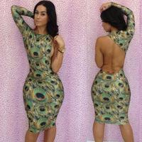 Free shipping Sexy peacock print one-piece dress hip slim formal dress evening dress fashion