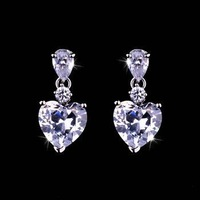 Free shipping wholesale /Fashion/Austria clear crystal/AAA Zircon rhodium plated drop Earring for women/heart/High Quality