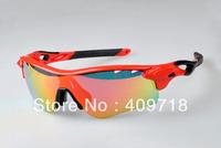 New Designer Cycling Bicycle Sunglass Men's/Women's Brand Radarlock Red Sports Sunglass Fire Iridium Lens Black Logo Polarized