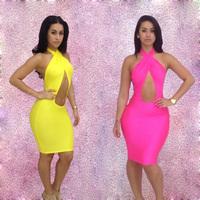 Free shipping One piece dress fashion prothorax cross straps party dress sexy one-piece dress