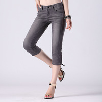 Summer fashion women's btboy slim straight jeans light color wearing white seven pants