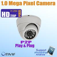 FREE SHIPPING ONVIF 720P 1.0 Megapixel Dome IP Camera, 15m IR distance, POE optional, 1280*720P,P2P Plug&Play, HD CCTV IP Camera