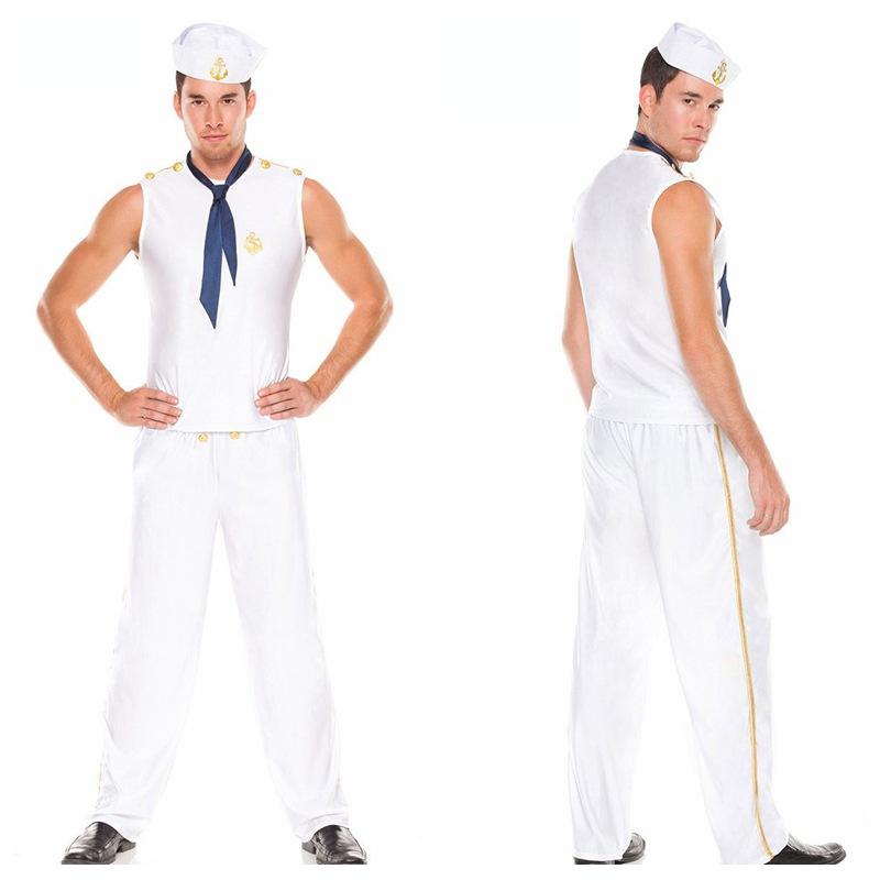 L-XL Fardas frete grátis americano Marinha marinheiro cosplay uniformes de marinheiro dos homens (chapéu + Calças + Top + empate) 131226 # 47(China (Mainland))