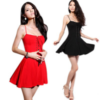 Free shipping Sexy Short Mini Party Spaghetti Dress Slim Homecoming Prom Party Cocktail Dress