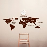 Free shipping hot sale world map wall stickers decor home Pvc sticker removable wall decals 60*110CM