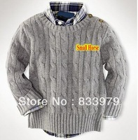 Small Horse Printed Cheap Kids polo Sweaters Solid Thick Childrens Knitted Casual Cotton Sweater Drop Shipping
