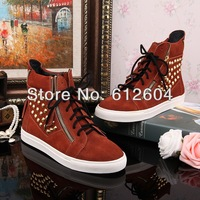 Punk gold studs sneakers for women brown suede spikes sneakers high top shoes women spring running sneakers size 35 to 41
