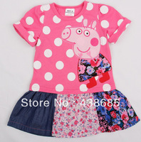 Retail ! Nova Girls' dresses new fashion  kids wear baby dresses casual peppa pig girls dresses