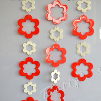 10pcs Red and white flower beaded curtain aluminum ring for door or Room Dividers/beaded garland  home/ wedding venue decor