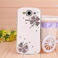New Transparent shell diamond pink leaf case for Samsung galaxy S3 case for I9300 Mobile Border Protection free shipping
