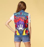 Dropshipping wholesale 2014 spring summer Harajuku Punk retro rivet printed women jeans denim vest waistcoat free shipping J1008