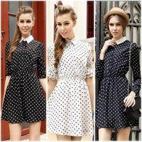 2014 Casual Fashion Modern Office Ladies Chiffon double layer Long Sleeve Slim Lapel Dot Dress