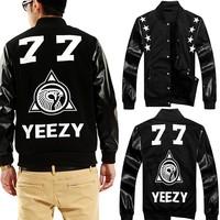 [YNM]Factory Top New women men PU Leather Sleeve Tops 3D Hoodies Baseball Jacket Ridding Suede Coat Velour Inside Warm Jaqueta