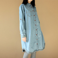 Fabric vintage elegant light blue thin denim long shirt design one-piece dress