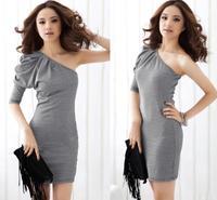 2014 Fashion Womens Sexy Shoulder Sleeve Slim Princess Praises Houndstooth Dress Gray