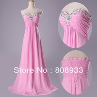 New Arrival Fast Delivery Grace Karin Strapless Pink Bridesmaid Dress Floor Length Long Beaded party Gown CL3518-2#