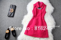FREE SHIPPING Autumn dress with peter pan collar and pearl necklace decoration sleeveless dresses slim look S-XL
