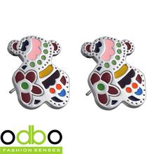 Free Shipping HOT Sale Stainless Steel jewelry Fashion Seven Color Teddy Bear Girl earring Ornaments Women stud Earrings DT214