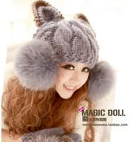 Free shipping fashion lady cap women female devil horns cat ear crochet braided knit ski beanie wool hat cap winter warm beret