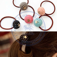 Candy Color round dots Rope Elastic Hair Ties Bands Headband Strap Girl's lady  wholesale retail