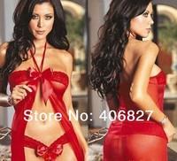sexy lingerie G string big bow Halter Set pajamas nightgown nightie intimates corset leotard dressing underwear negligee