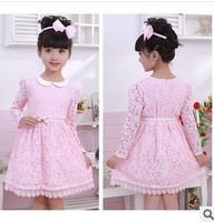 wholesale retail 2014 baby girls spring autumn princess dress girls lace dress kids children's long sleeve lace dress 2-8years