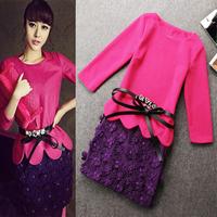 Free shipping! European 2013 fashion autumn and winter women scalloped top woolen flower bust skirt set