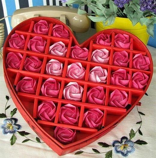 DIY origami Kawasaki Rose finished gift box / paper flowers handmade ...