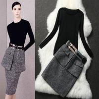 Free shipping! European 2013 autumn and winter women fashion knitted wool pullover woolen bust skirt set