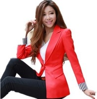 M-3XL Large Siz Small Suit Jacket Women 2015 Spring Candy Color Slim Stripe Patchwork Women's Blazer Outerwear Free Shipping