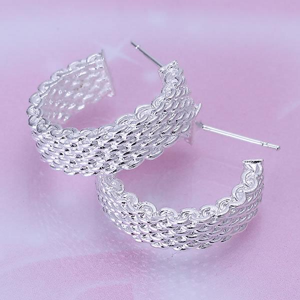 -E082 Wholesale ! Wholesale 925 silver earrings, 925 silver fashion jewelry, Weaved Web Earrings(China (Mainland))