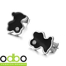 Free Shipping HOT Sale Stainless Steel jewelry Fashion Cute Black color Bear Girl earring Ornaments Women stud Earrings DT226