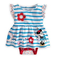 Jumpsuits new fashion 2014 baby wear bebe bodysuits mickey minnie flower blue striped overall baby girl clothes free shipping