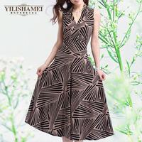 new 2014  summer new Korean fashion striped long casual dress(freeshipping)
